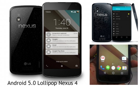 Смартфон Nexus 4 на базе Android 5.0 Lollipop